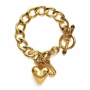 Juicy Couture Gold Thick Heart Charm T Bracelet